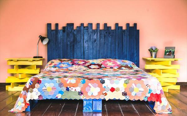 rustic blue painted pallet bed with headboard