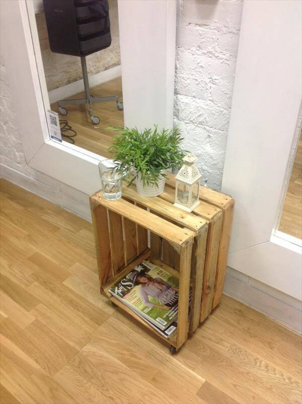 recycled pallet crate decorative table