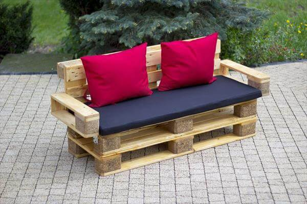 recycled pallet cushioned pallet outdoor bench