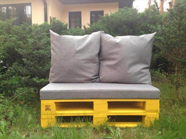 hand painted pallet cushioned sofa and bench