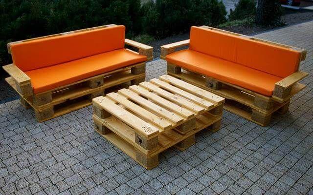 upholstered pallet patio furniture set