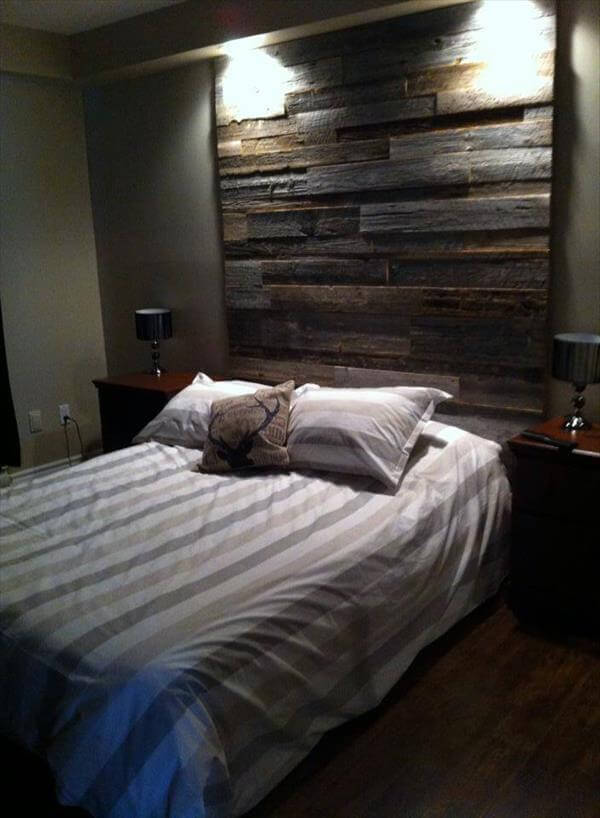 reclaimed pallet headboard wall