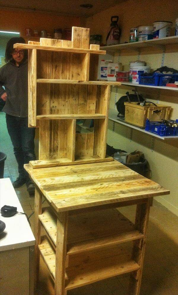 handmade pallet kitchen table with spice rack