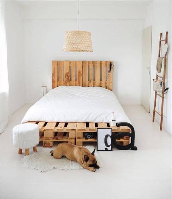 upcycled pallet platform bed with headboard