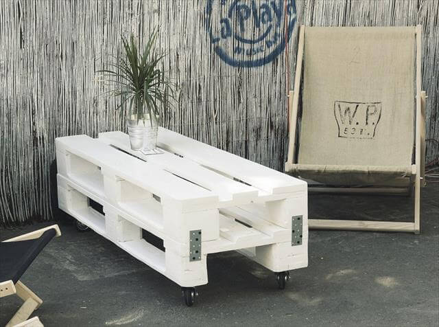 White Pallet Coffee Table shabby chic white pallet coffee table with wheels | 99 pallets