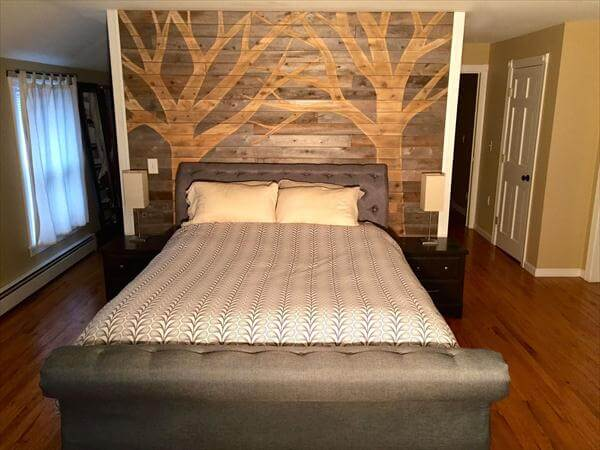 recycled pallet headboard wall