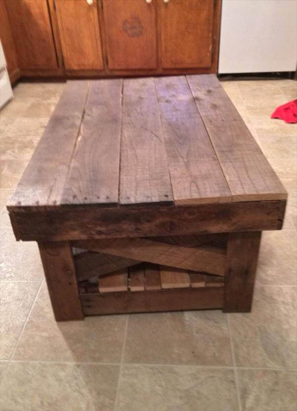 recycled pallet coffee table - DIY Vintage Inspired Pallet Coffee Table 99 Pallets
