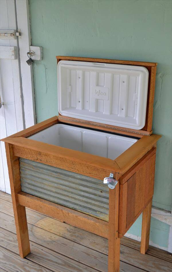 upcycled pallet patio cooler stand