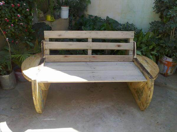 recycled pallet and wire spool bench