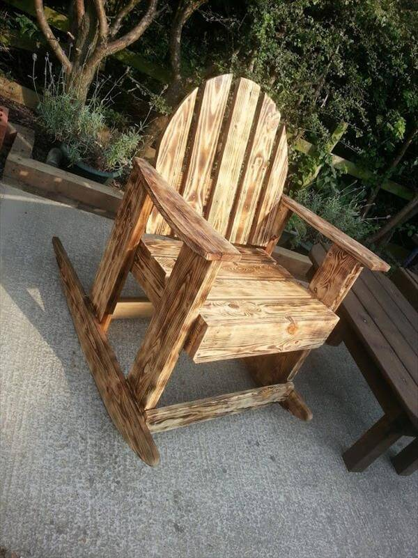recycled pallet scorched rocking chair