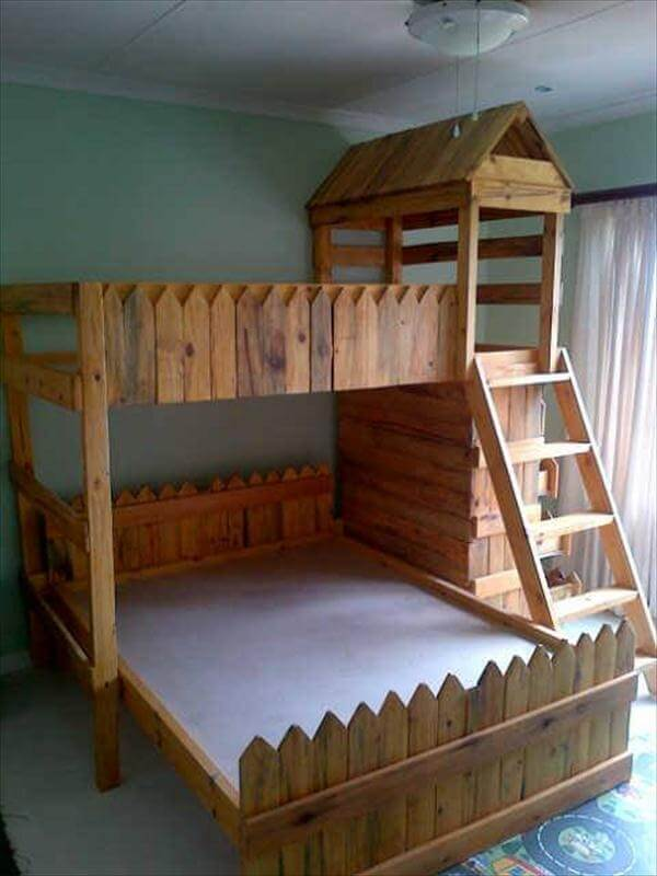 reclaimed pallet toddler's castle bed