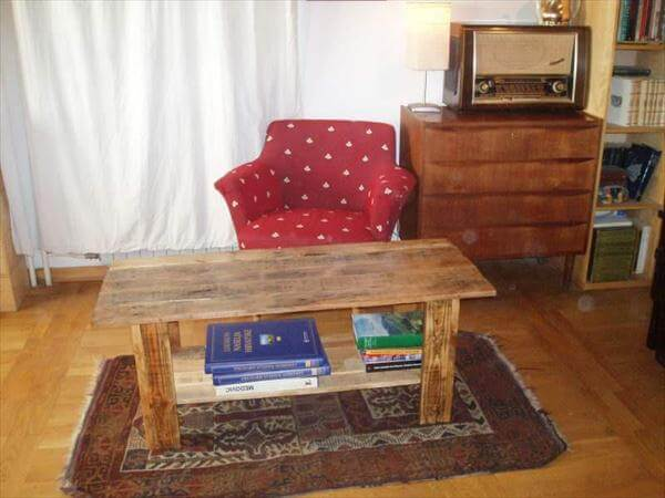 diy pallet coffee table with book storage | 99 pallets