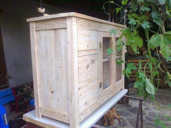 handmade rustic pallet side board and storage cabinet