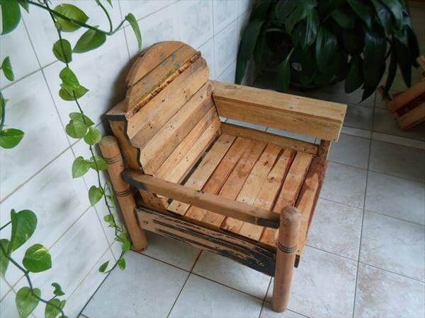 upcycled pallet and cable spool patio chair