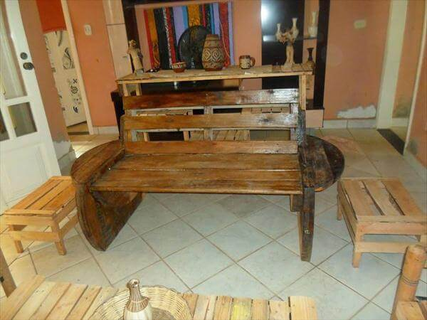 diy pallet and cable spool patio furniture set