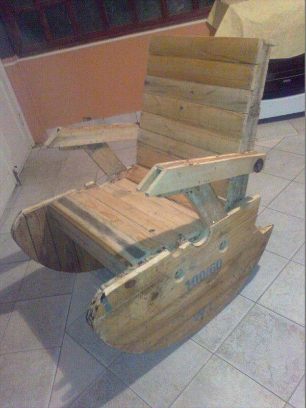 recycled pallet and wire spool rocking chair