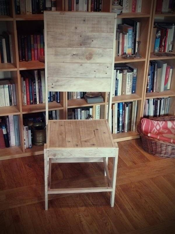 handmade pallet library chair