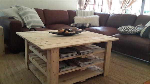 Diy pallet coffee table with magazine rack 99 pallets for Table basse palette
