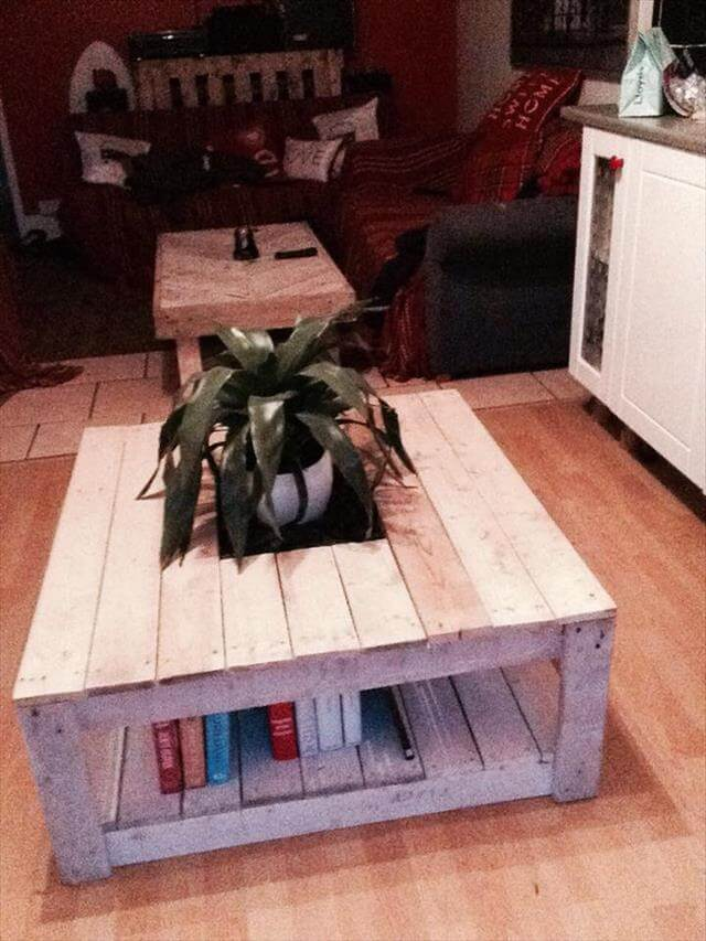 upcycled pallet coffee table with bookstorage