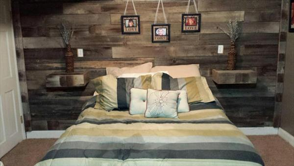 upcycled pallet bedroom wall