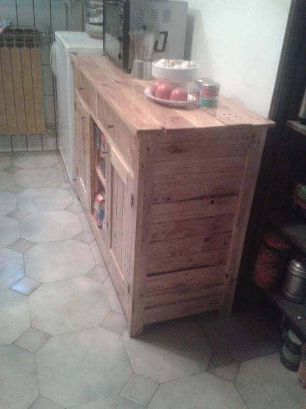 handcrafted pallet kitchen cabinet