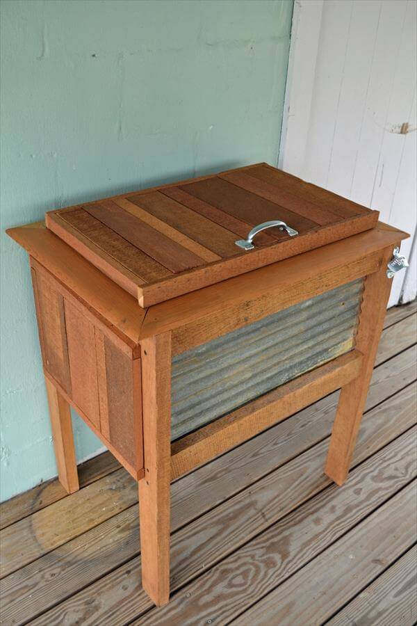 recycled pallet outdoor cooler stand