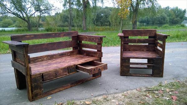 upcycled pallet bench with storage