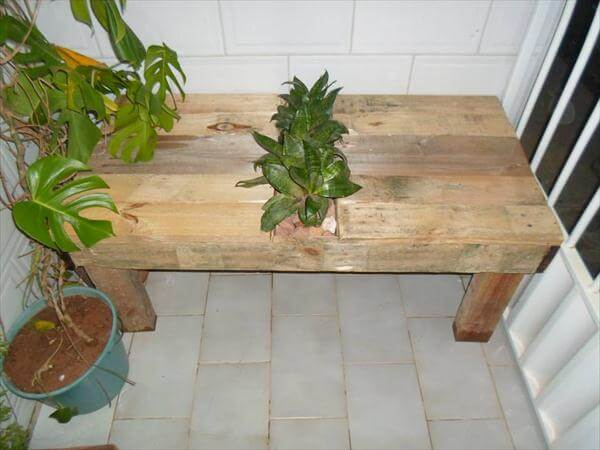 upcycled pallet handmade table with planter