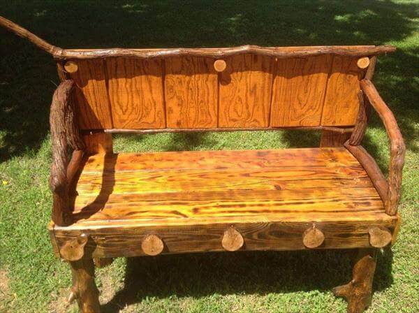 upcycled pallet and wood log garden bench
