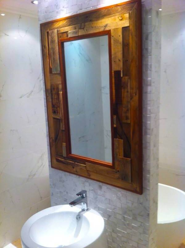 Wood bathroom mirror