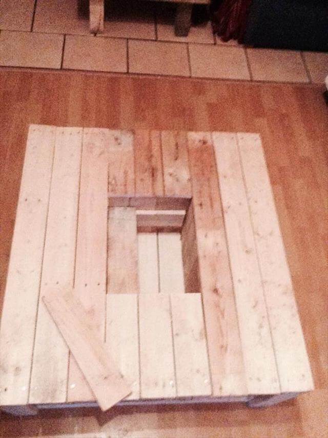handmade pallet coffee table with planter box