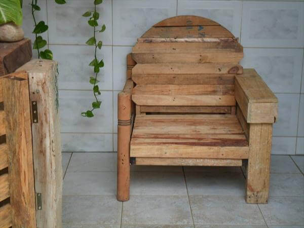 upcycled pallet and cable spool chair