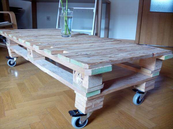 DIY Pallet Coffee Table with Storage and Casters99 Pallets