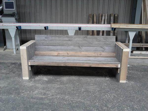 repurposed pallet outdoor bench