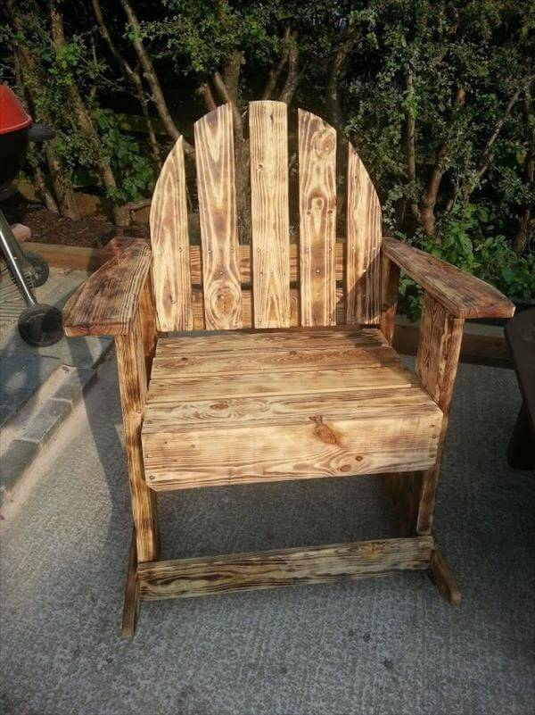 upcycled vintage scorched palet rocking chair