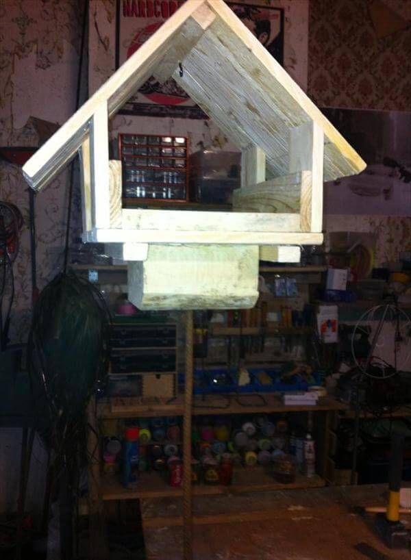 handmade pallet rustic bird feeder