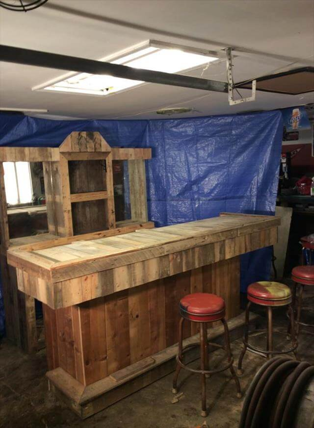 Diy Recycled Pallet Wood Bar Table
