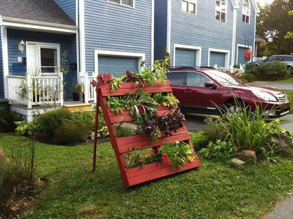 red painted pallet mini garden