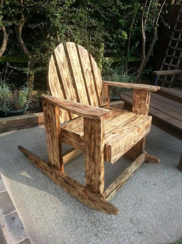 Diy Scorched Pallet Wood Rocking Chair 99 Pallets