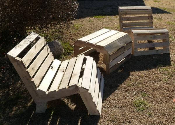 Repurposed Pallet Patio Armless Chairs
