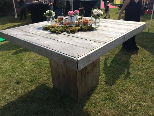 Diy pallet garden table 99 pallets for Palette table jardin
