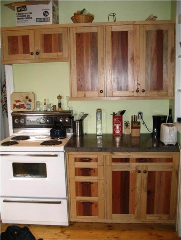Diy pallet kitchen cabinets low budget renovation 99 for Diy kitchen cabinets