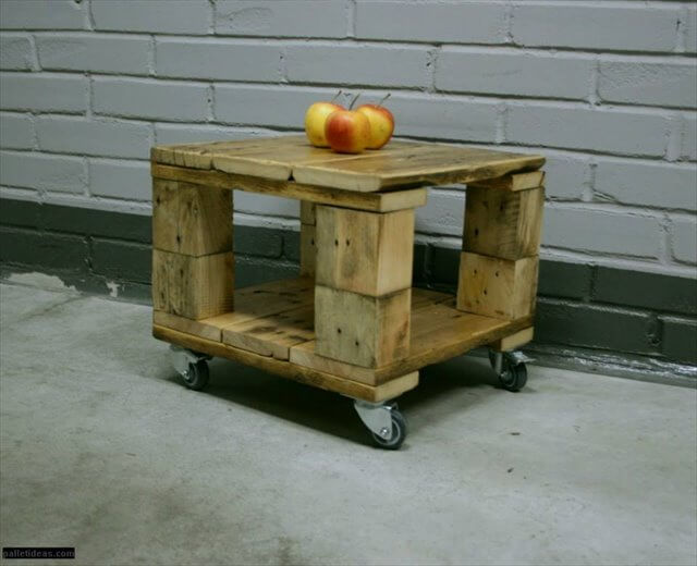 Diy pallet mini coffee table with wheels 99 pallets for Pallet wall on wheels