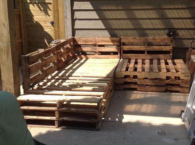 installing the rough pallets for a sofa frame