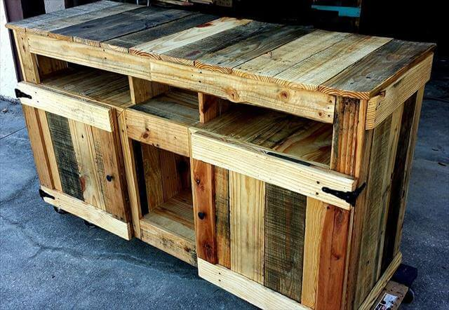 Island with cabinets wooden pallet kitchen island with cabinets - Diy Pallet Wooden Tv Stand Media Cabinet 99 Pallets