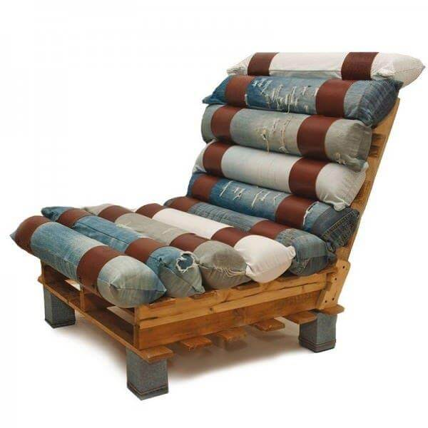 repurposed pallet and denim lounge chair