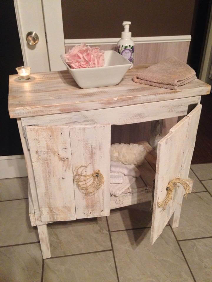 handcrafted pallet bathroom cabinet