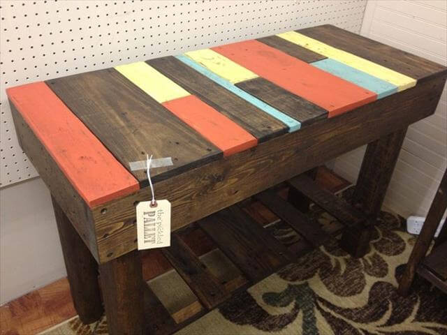 reclaimed pallet colorful console table