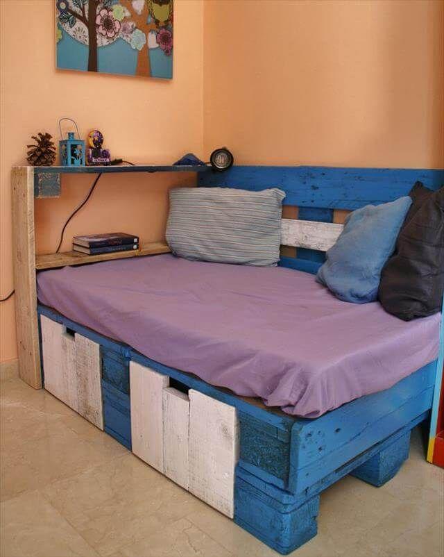 blue and white diy pallet corner sofa