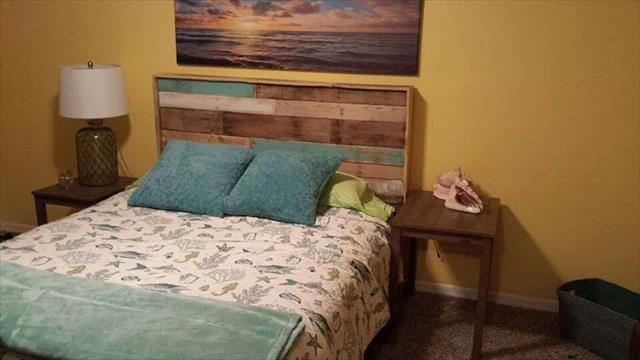 rustic yet sturdy pallet bed with headboard